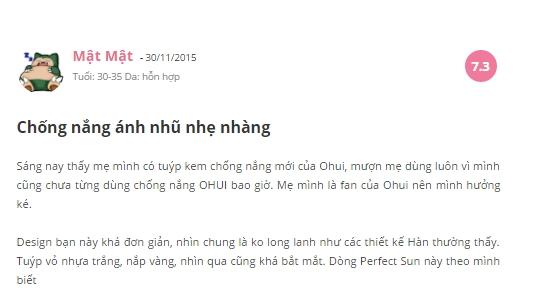 Đánh giá của Blogger về O HUI Perfect Sun Red