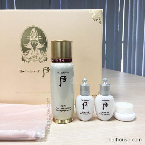 Thực tế Set dưỡng chống lão hóa Whoo Bichup First Care Moisture Anti-Aging Essence Special Set (4 SP)