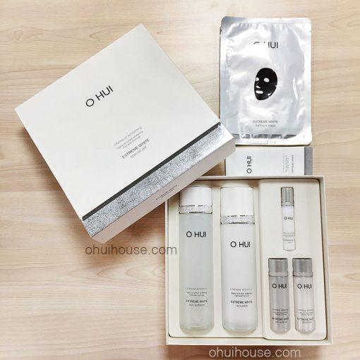 Mở Hộp Trọn Bộ dưỡng trắng da chuyên sâu OHUI Extreme White Special Set Intensive Whitening (6 SP)
