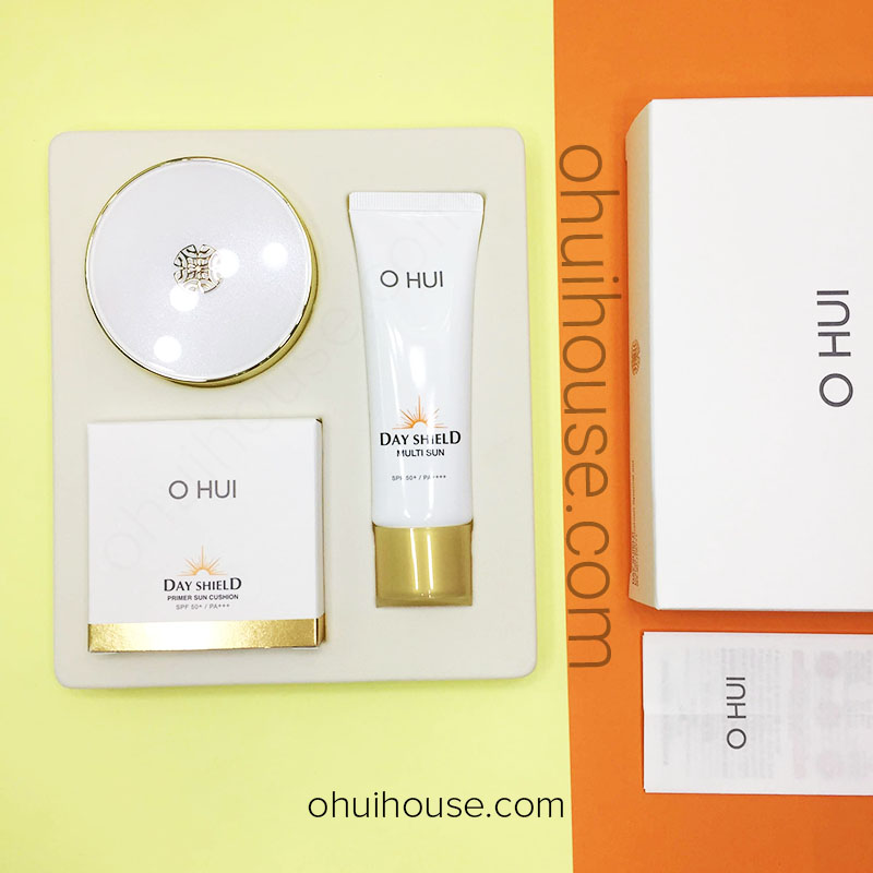 Review OHUI Day Shield Primer Sun Cushion SPF50+/PA+++ Special Set