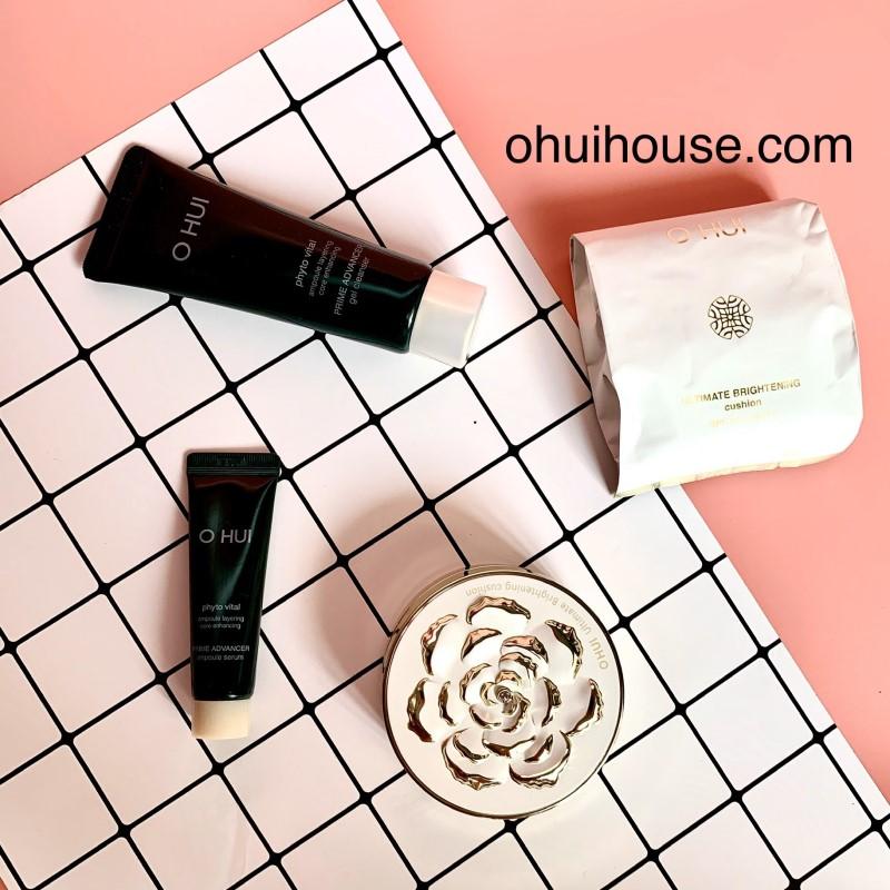 Sét phấn nước dưỡng trắng O HUI Ultimate Brightening Cushion (4 sản phẩm)