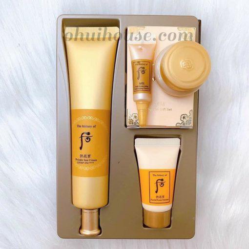 Set chống nắng cải thiện nếp nhăn Whoo Gongjinhyang Wrinkle Sun Cream Special Set (4 sản phẩm)